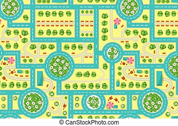mapa, city., patrón, cima, árboles, camino, vista