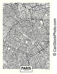 mapa ciudad, cartel, viaje, parís, vector, diseño