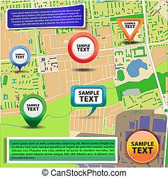 mapa ciudad, con, iconos, 2