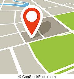 mapa, ciudad, perspectiva, resumen