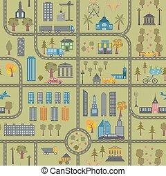 mapa ciudad, seamless, patrón