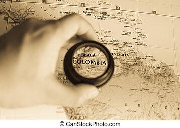 mapa, colômbia