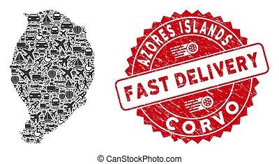 mapa, collage, textured, rápido, isla, entrega, corvo, watermark