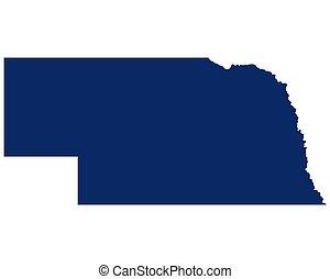 mapa, color, nebraska, azul