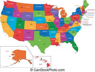 mapa, colorido, estados unidos de américa