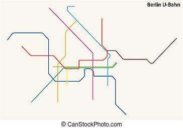 mapa, colorido, vetorial, alemanha, metrô, berlim