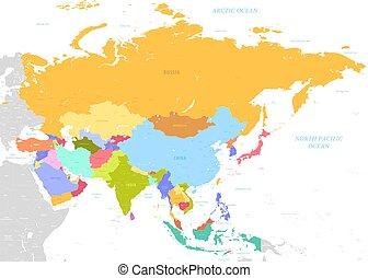 mapa, coloridos, ásia, nomes