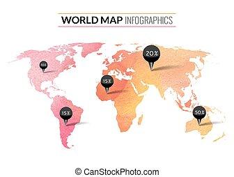 mapa, coloridos, etiquetas, aquarela, vetorial, infographics, alfinetes, mundo, cento