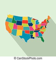 mapa, coloridos, eua, apartamento, estados, ícone