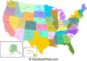 mapa, coloridos, eua, estados, capital, cities.