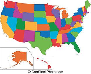 mapa, coloridos, eua