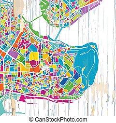 mapa, coloridos, istambul