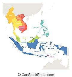 mapa, coloridos, países, region., ásia, sudeste, vetorial, ilustração, sudeste, asia.