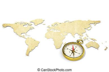 mapa, compass.