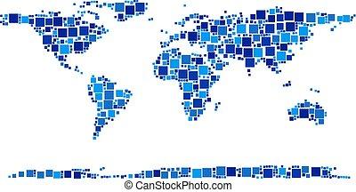 mapa, composição, continente, mundo, pixels