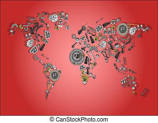 mapa, compuesto, partes, sobrante, mundo