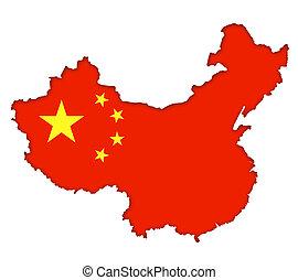 mapa, con, bandera, de, china