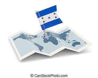 mapa, con, bandera, de, honduras