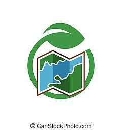 mapa, con, hoja, verde, logotipo, icono, vector