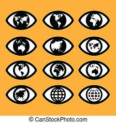 mapa, conceito, concept., sinal, mundo, sinal, olho, símbolo
