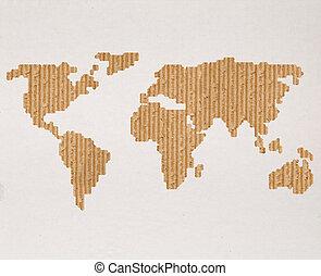 mapa, conceito, global, despacho, mundo, papelão