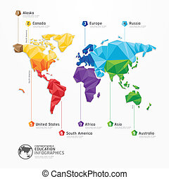 mapa, conceito, ilustração, vetorial, desenho, infographics...