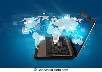 mapa, conceito, networking, rede, laptop, social, mundo, :