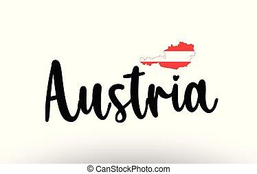 mapa, conceito, país, dentro, bandeira áustria, texto, grande, logotipo