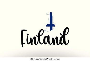 mapa, conceito, país, dentro, bandeira finland, texto, grande, logotipo