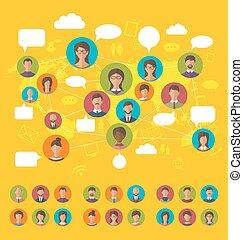mapa, conceito, rede, f, ícones, pessoas, social, mundo, avatars