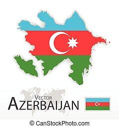 mapa, conceito, transporte, ), (, azerbaijão, bandeira, república, turismo