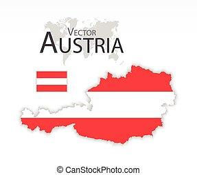 mapa, conceito, transporte, ), (, bandeira áustria, república, turismo