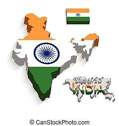 mapa, conceito, transporte, ), (, bandeira índia, república, turismo, 3d
