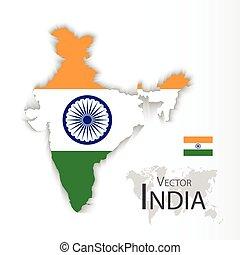 mapa, conceito, transporte, ), (, bandeira índia, república, turismo