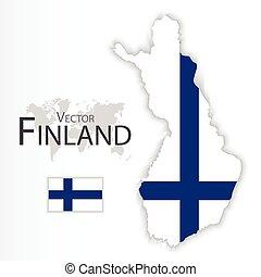 mapa, conceito, transporte, ), (, bandeira finland, república, turismo