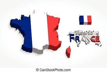 mapa, conceito, transporte, ), (, bandeira frança, república, turismo, 3d