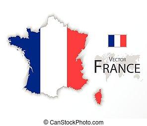 mapa, conceito, transporte, ), (, bandeira frança, república, turismo