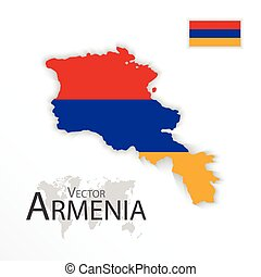 mapa, conceito, transporte, ), (, bandeira, república, arménia, turismo
