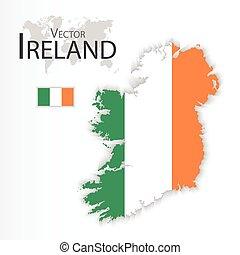 mapa, conceito, transporte, ), (, bandeira, república, irlanda, turismo