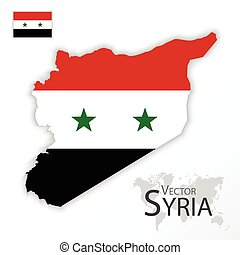 mapa, conceito, transporte, ), (, sírio, árabe, bandeira, república, síria, turismo