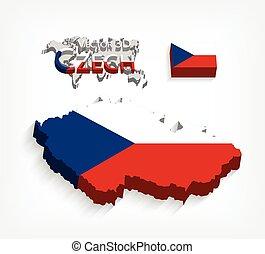 mapa, conceito, transporte, tcheco, (, ), bandeira, república, turismo, 3d