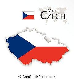 mapa, conceito, transporte, tcheco, (, ), bandeira, república, turismo