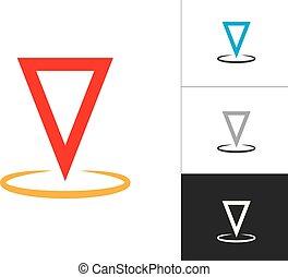 mapa, concepto, illustration., alfiler, símbolo, aislado, fondo., vector, diseño, ubicación, blanco, icono