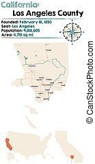 mapa, -, condado, los, california, angeles