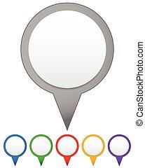mapa, conjunto, colores, vector, vario, marcadores