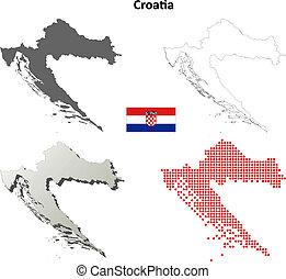 mapa, conjunto, croacia, contorno, blanco