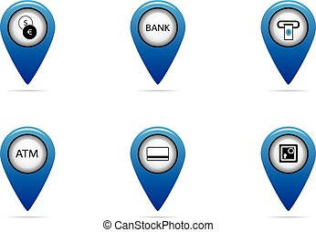 mapa, conjunto, etiqueta, finanzas, banco