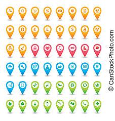 mapa, conjunto, indicador, icono