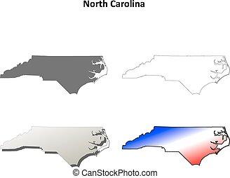 mapa, conjunto, norte, contorno, carolina