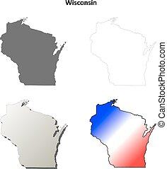 mapa, conjunto, wisconsin, contorno